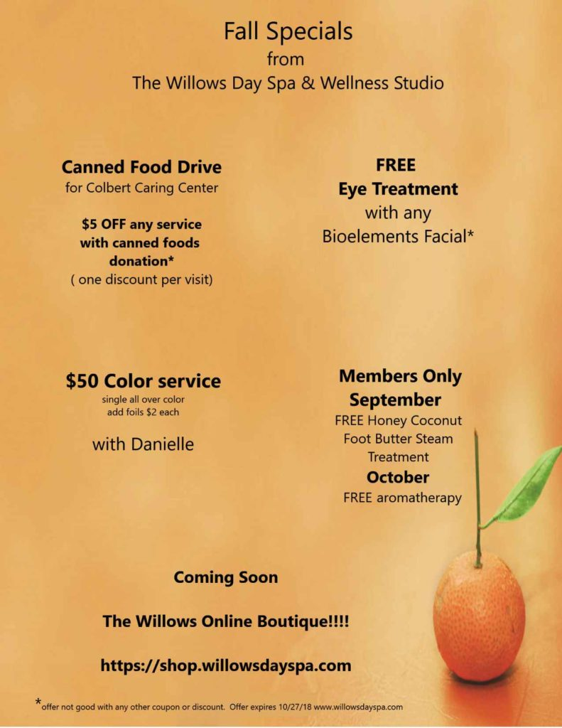 Willows Day Spa's Fall Specials